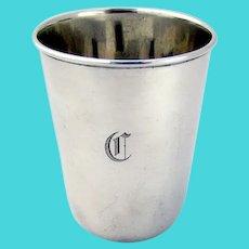 Tiffany Plain Small Beaker Sterling Silver 1920 Mono C