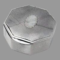 Engine Turned Octagonal Pill Box Gilt Interior German 800 Silver