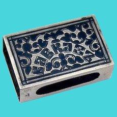 Engraved Niello Caucasus Match Box Cover Russian 84 Silver 1900s