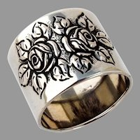 Repousse Rose Napkin Ring German 830 Silver Mono Liv 1922