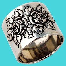 Repousse Rose Napkin Ring German 830 Silver Mono Liv 1922
