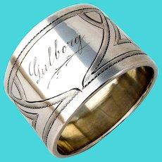 Jugendstil Engraved Napkin Ring German 830 Silver Mono Gulborg 1907