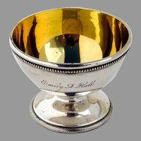 Pedestal Open Salt Dish Gilt Interior Gorham Coin Silver 1870 Mono