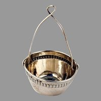 French Tea Strainer Basket Repousse Band 800 Silver