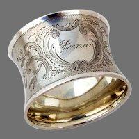 Bright Cut Engraved Napkin Ring German 800 Silver Mono Frena