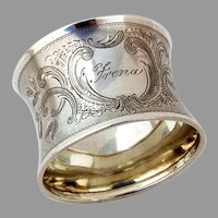 Bright Cut Engraved Napkin Ring German 800 Silver Mono Frena
