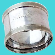 Mother Napkin Ring Milled Borders Coin Silver 1860s