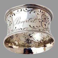 Repousse Floral Napkin Ring Beaded Rims Coin Silver Mono Baerbel