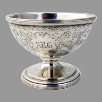 Engraved Pedestal Open Salt Kirk Son Co Sterling Silver 1920 Mono ARG