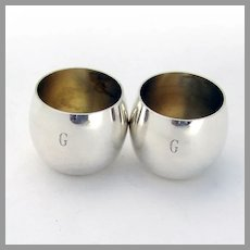 Tiffany Shot Cups Pair Gilt Interior Sterling Silver 1970 Mono G