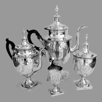 Federal 4 Piece Tea Coffee Set Walker Brasier Coin Silver 1810 Mono