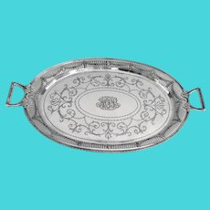 Shreve Adam Large Oval Serving Tray Sterling Silver 1909 Mono MPB