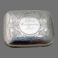 Engraved Snuff Box Wood Hughes Sterling Silver Mono Bridgman 1878