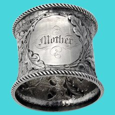 Repousse Acorn Oak Leaf Napkin Ring Coin Silver 1860 Mono Mother