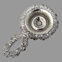 Openwork Ornate Floral Tea Strainer Gorham Sterling Silver