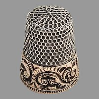 Scroll Gold Band Thimble Size 6 Sterling Silver Mono Marie