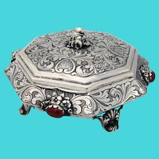 Ornate Floral Octagonal Form Box Cabochon Insets 800 Silver