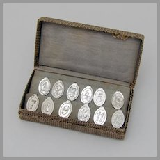 German 12 Numbered Cocktail Napkin Clips Set WMF 835 Silver 1930s