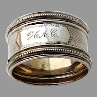 Beaded Engine Turned Small Napkin Ring Coin Silver Mono HAC