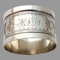 Engraved Foliate Vine Napkin Ring Coin Silver Mono HLD