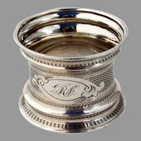 Large Engine Turned Waisted Napkin Ring Coin Silver 1860s Mono RS
