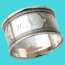 Engine Turned Napkin Ring Applied Borders Coin Silver Mono WN