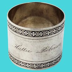 Large Heavy Napkin Ring Ornamental Borders Coin Silver Mono