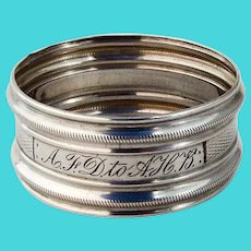 Engine Turned Napkin Ring Milled Rims Coin Silver Mono AFD AHB