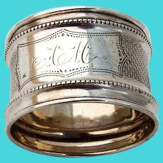 Engine Turned Beaded Napkin Ring Coin Silver 1860s Mono AM