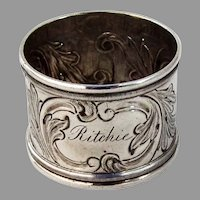 Canadian Silver Foliate Scroll Napkin Ring Savage Lyman 1860 Mono Ritchie