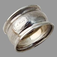 Engine Turned Bellied Napkin Ring Coin Silver Mono Webb