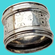 Floral Napkin Ring Raised Borders Coin Silver Mono JMC
