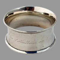 Plain Large Napkin Ring Applied Borders Coin Silver 1842 Mono