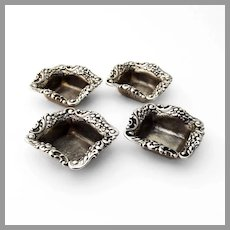 Baroque Floral Scroll Nut Cups Set Sterling Silver Mono NAK