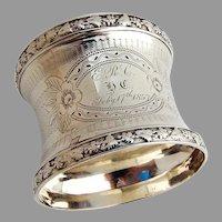 Engine Turned Napkin Ring Grapevine Border Coin Silver 1850s Mono