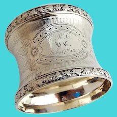Engine Turned Napkin Ring Grapevine Border Coin Silver 1850s Mono