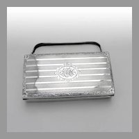 Engine Turned Engraved Evening Purse Sterling Silver 1900 Mono AMH
