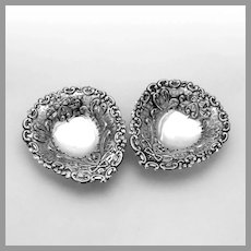 English Heart Form Nut Cups Pair Matthew Jessop Sterling Silver 1900
