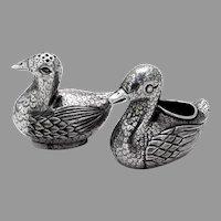 Duck Form Open Salt Pepper Shaker Set Chinese Export Silver 1900