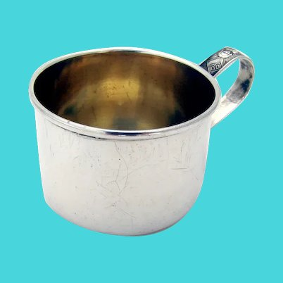 Lunt Baby Juice Cup Toys Handle Gilt Interior Sterling Silver