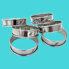 Plain Narrow Napkin Rings Set Reed Barton Sterling Silver Mono M