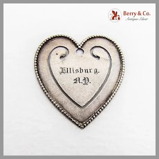 Beaded Heart Bookmark Matte Sterling Silver Mono Ellisburg AY