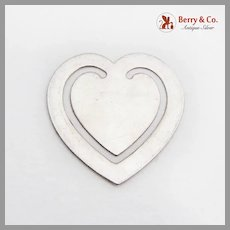 Heart Form Bookmark Plain Design Sterling Silver