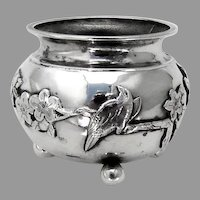 Dogwood Bird Open Salt Ball Feet Chinese Export Silver 1900