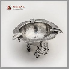 Large Peruvian Ashtray Inca God Charms Cast Feet Sterling Silver