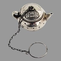Jeffersons Home Souvenir Tea Ball Teapot Form Sterling Silver