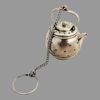 Round Teapot Form Tea Ball Webster Sterling Silver