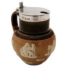 Lambeth Stoneware Mustard Pot Sterling Silver Lid 1899 London