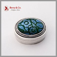 Floral Art Glass Pill Box Oval Form Sterling Silver Mexico