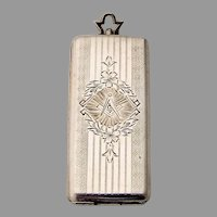 Engraved Masonic Calling Card Case Gilt Interior Sterling Silver